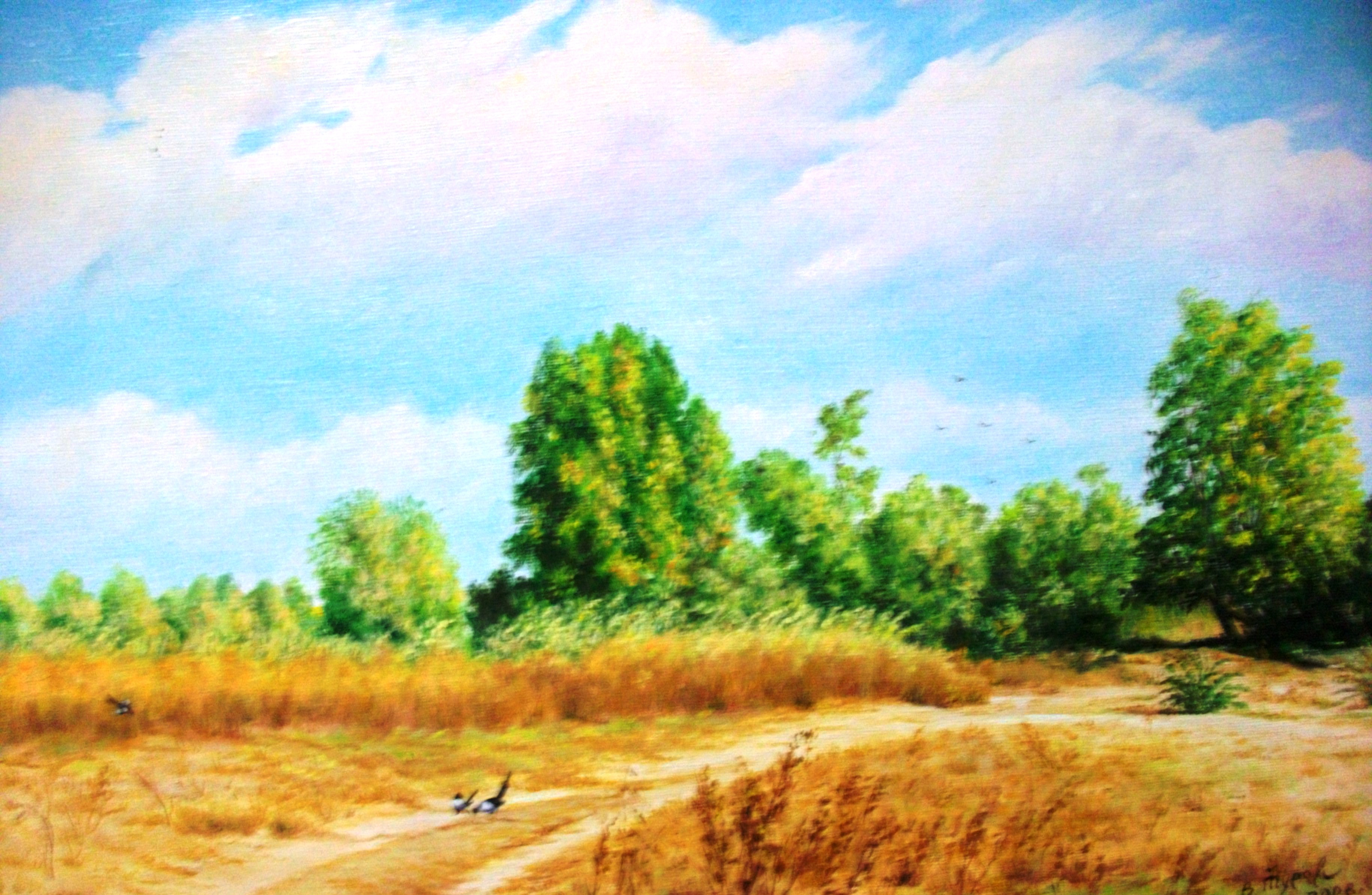 Пейзаж маслом лето